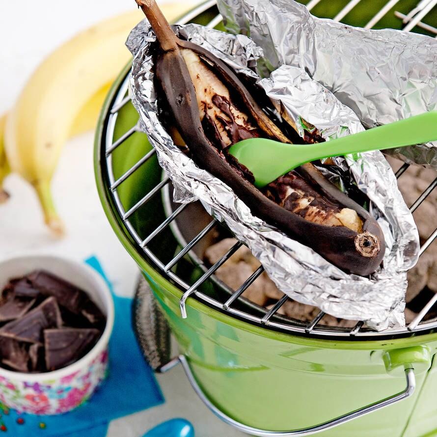 Banaan met chocolade en rum