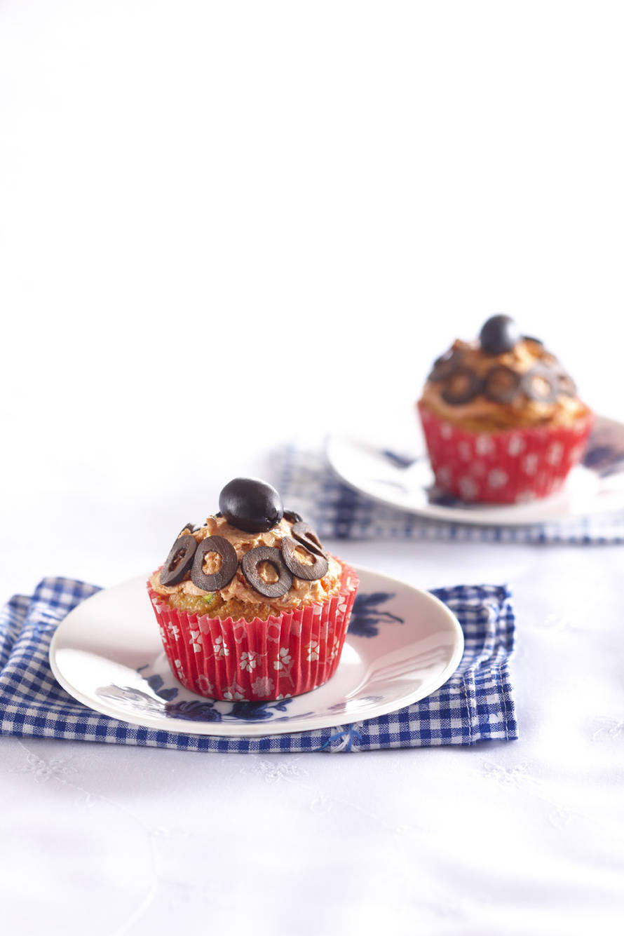 Cupcake met courgette en zongedroogde tomaat