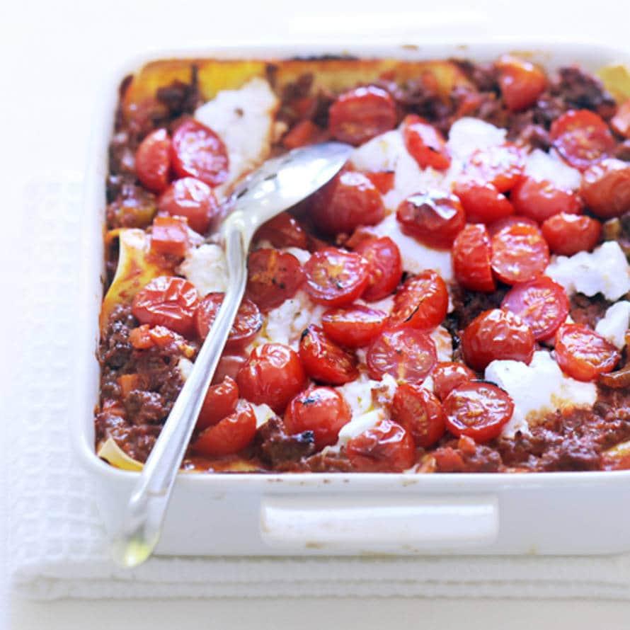 Lasagne met ricotta en tomaat