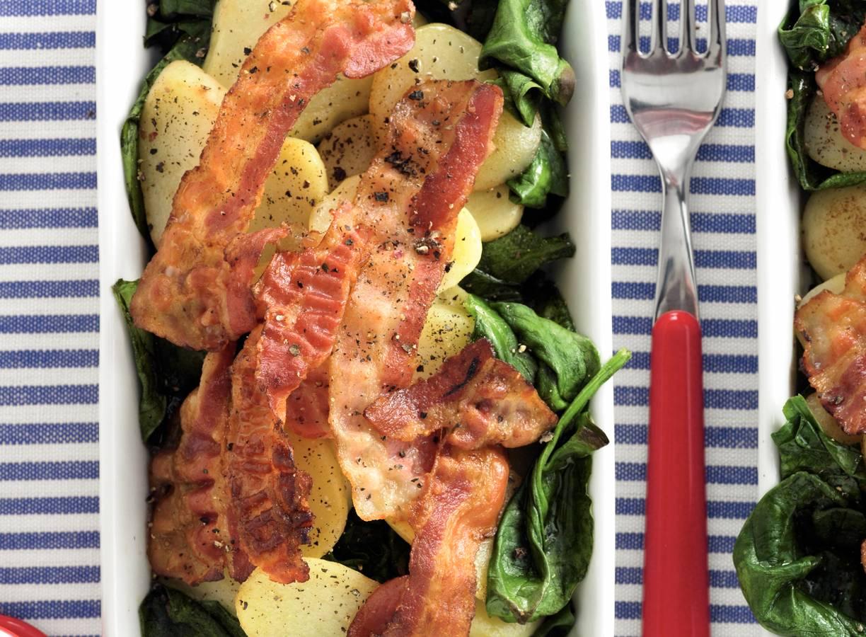 Spinazie met spek & aardappel uit de oven
