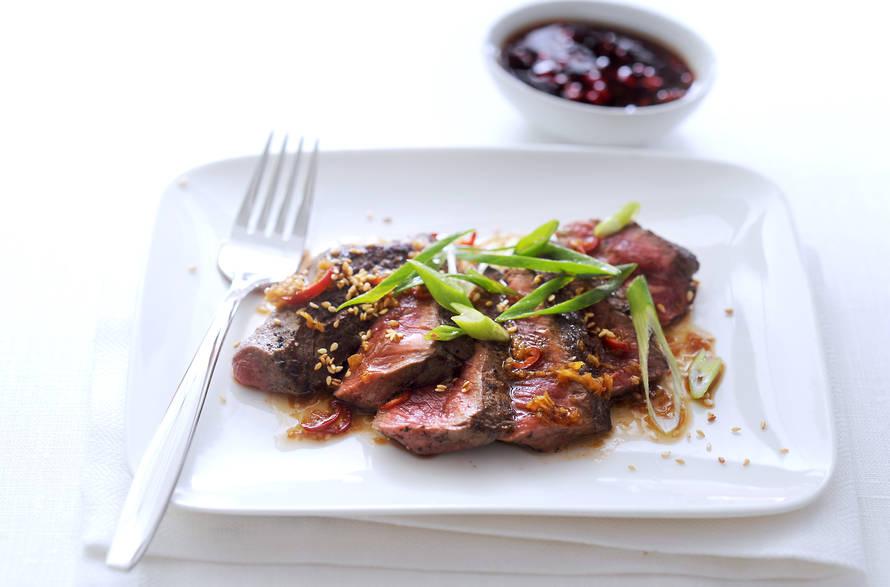 Biefstuk met soja, peper en gember