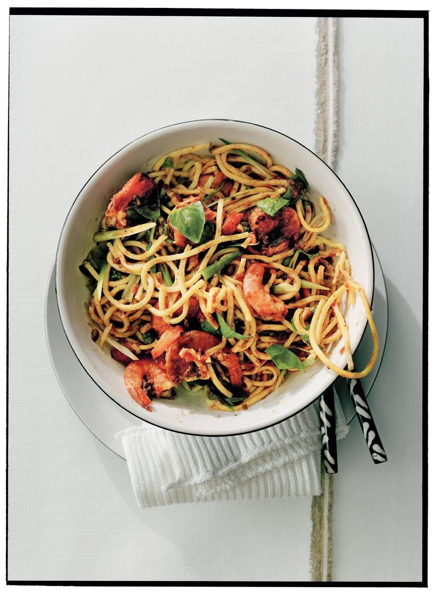 Spaghetti met garnalen & mexicaanse peper