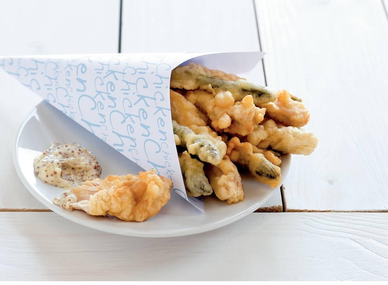 Kip en asperge fritto