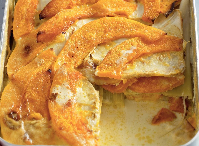Lazy lasagne van knolselderij en pompoen