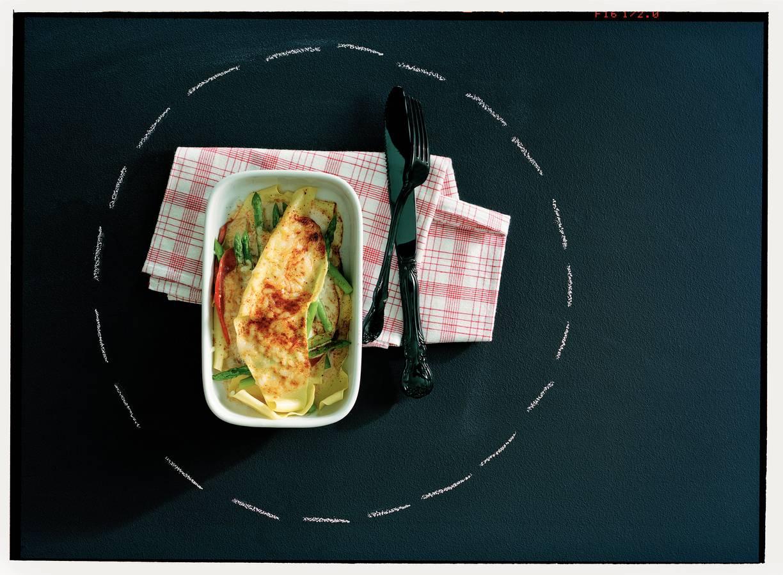 Lasagne met asperges en pastrami