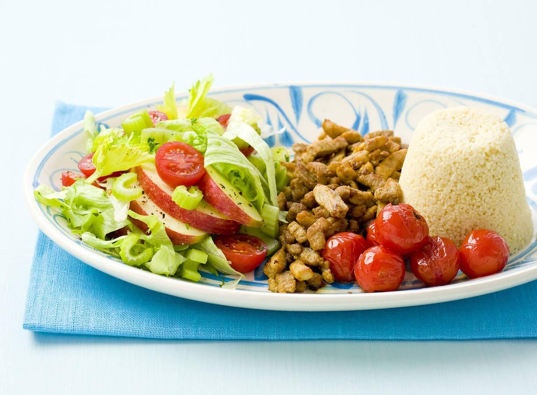 Couscous met shoarmavlees en salade