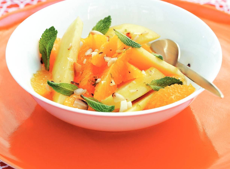Mango met sinaasappelhoningdressing