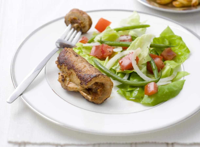 Schnitzelrolletje met salade van haricots verts