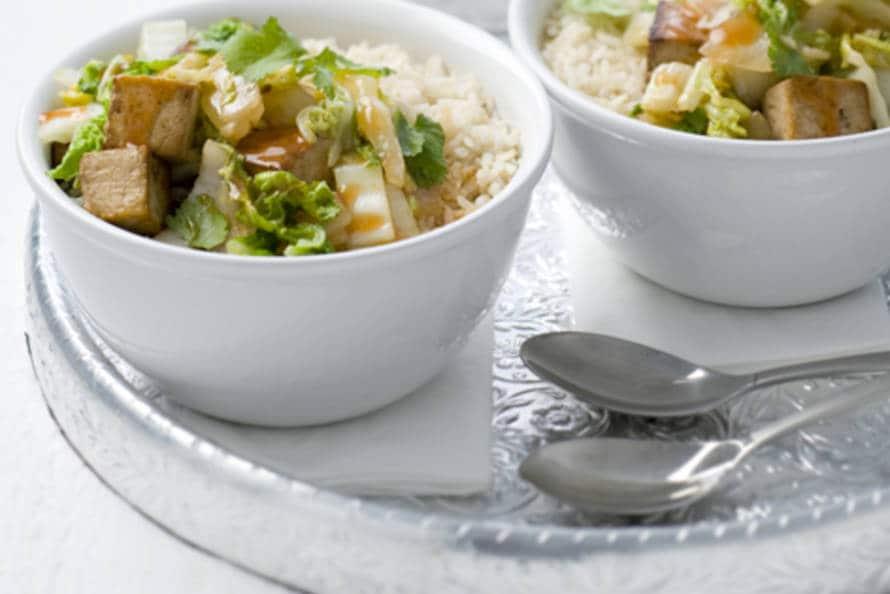 Rijst met gemarineerde tofu.