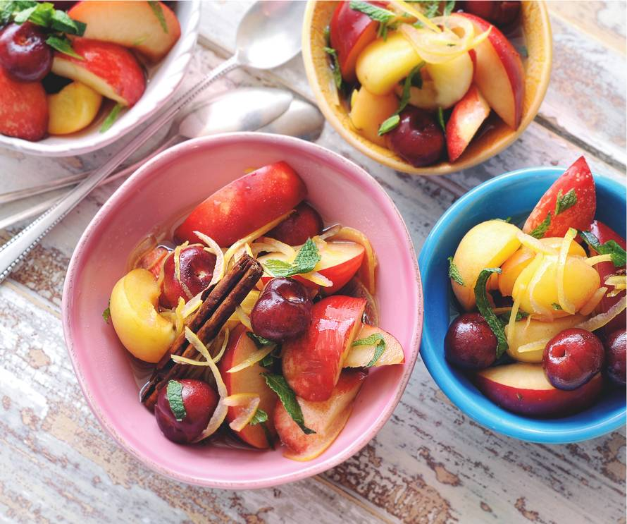 Fruitsalade met zoete witte wijn