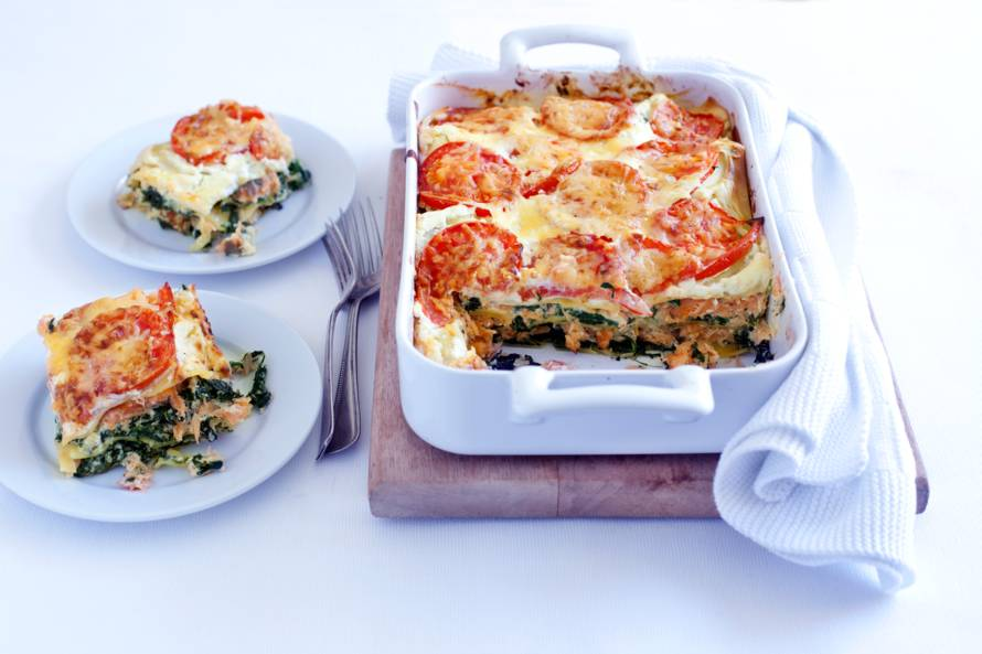Lasagne met ricotta, spinazie en gerookte zalm