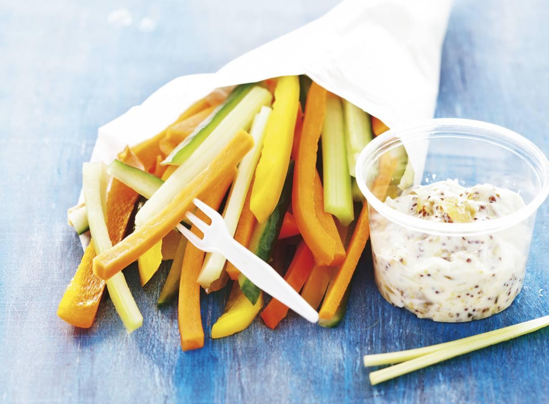 Groentefriet met gembermosterd