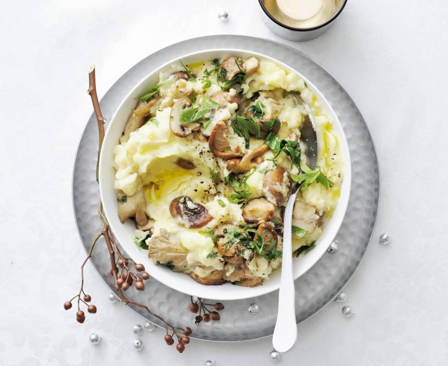 Aardappel-knolselderijpuree met paddenstoelen