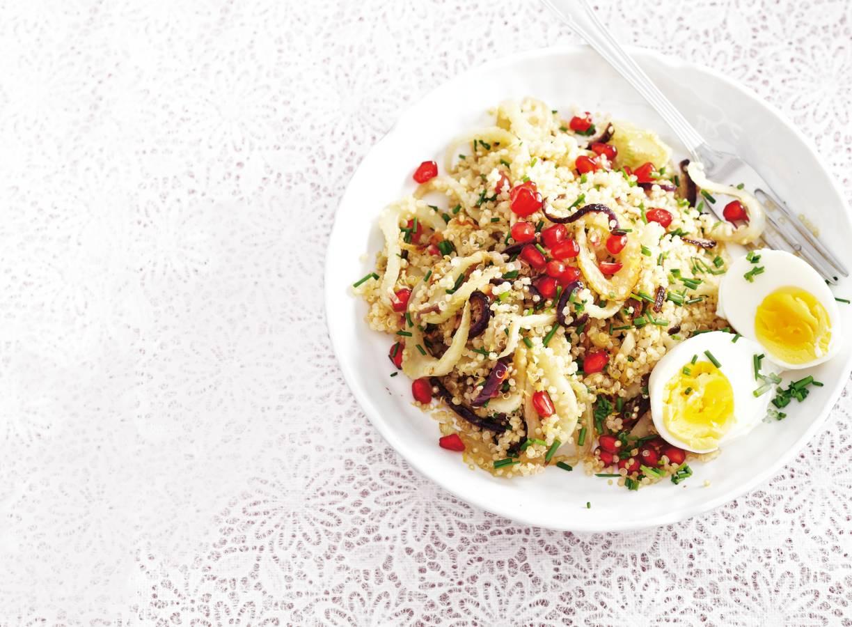 Quinoa met venkel en granaatappelpitjes