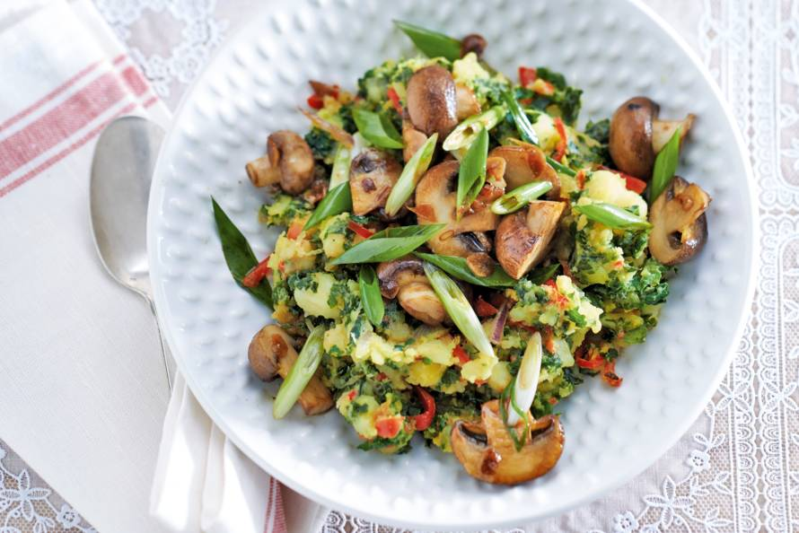Madrasboerenkool met champignons