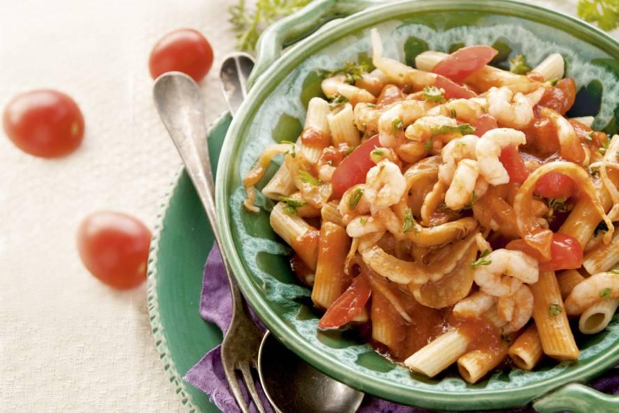 Penne met tomaatjes & garnalen
