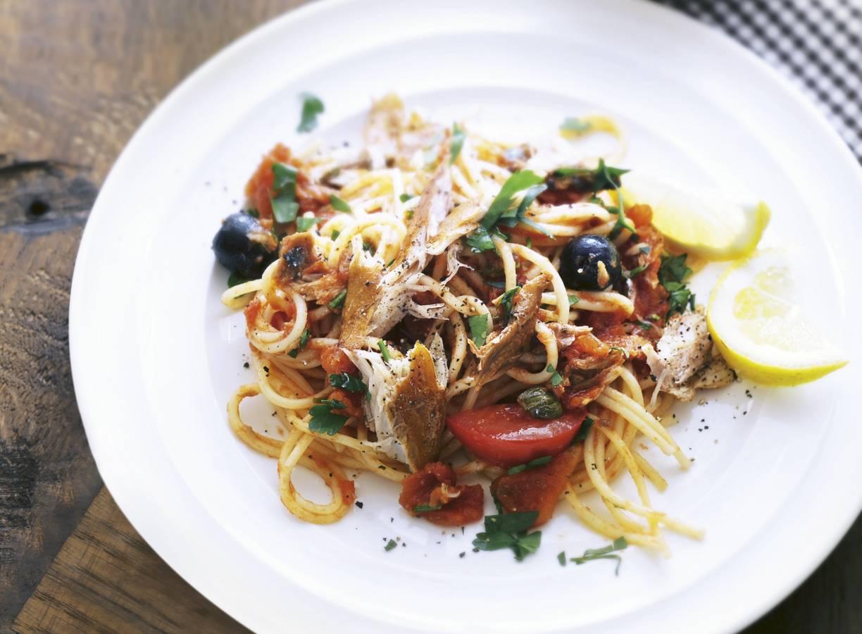 Spaghetti met makreel