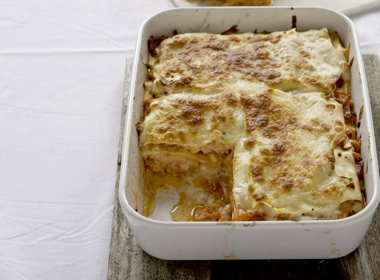 Lasagne met verse en gerookte zalm