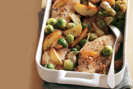 kipfilet met gemarineerde groenten uit de oven - recept - allerhande