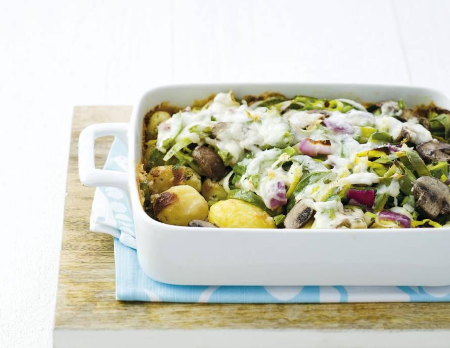 Aardappelschotel met geitenkaas