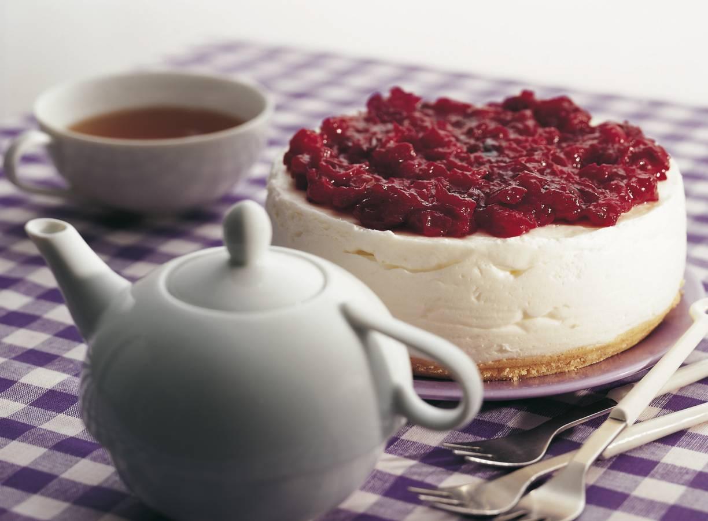 Roomkwarktaart met cranberrytopping