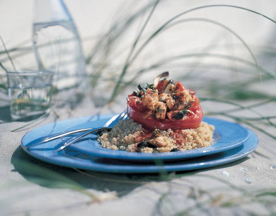 Pittig gevulde paprika's met couscous