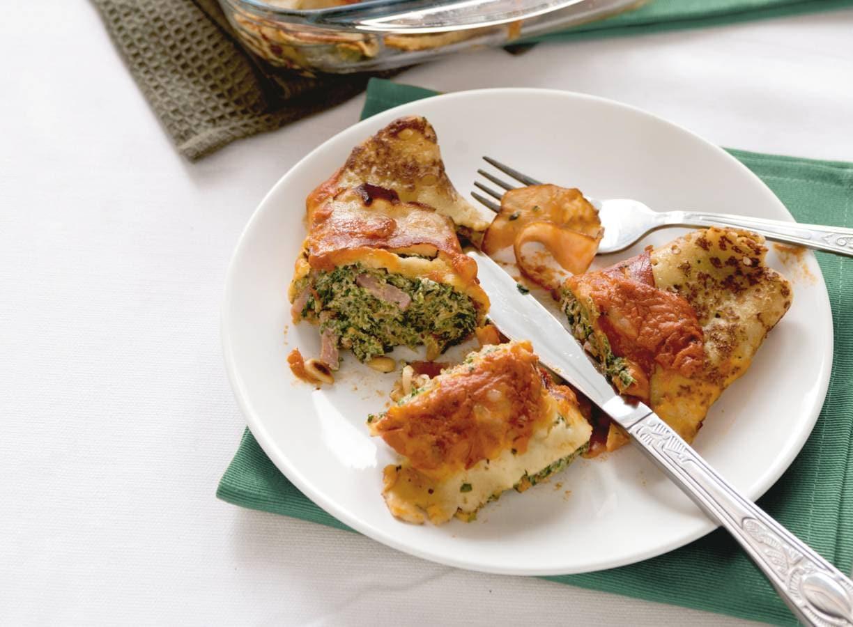 Hartige gevulde pannenkoekjes met spinazie, ham & spek