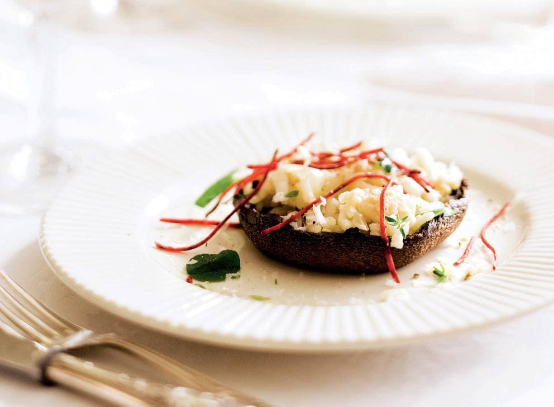 Met risotto gevulde portobello's