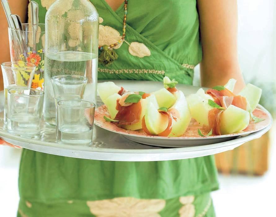 Meloen in serranoham
