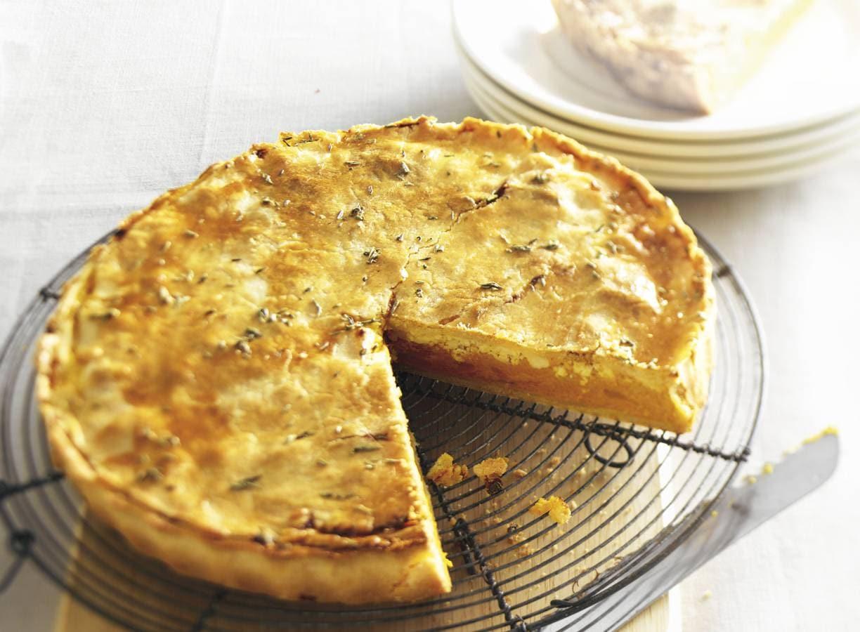 Pompoentaart met witte kaas