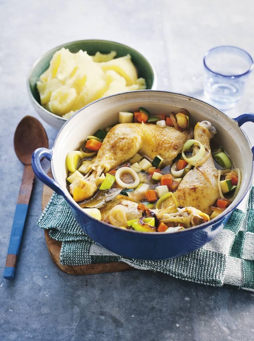 Pot-au-feu van kip met aardappelpuree