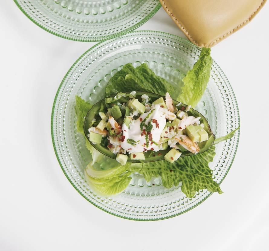 Cocktail van avocado en krab