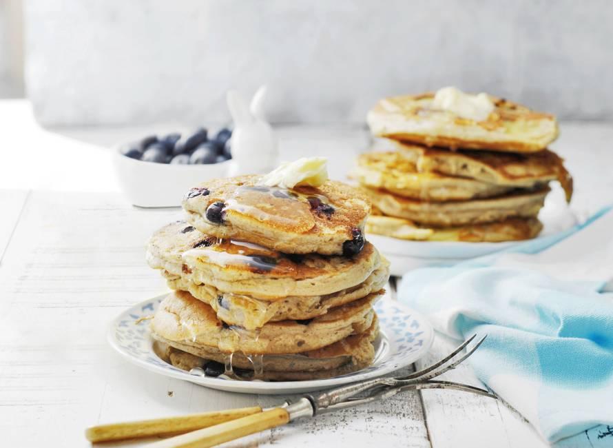Ontbijtpannenkoekjes met blauwe bessen