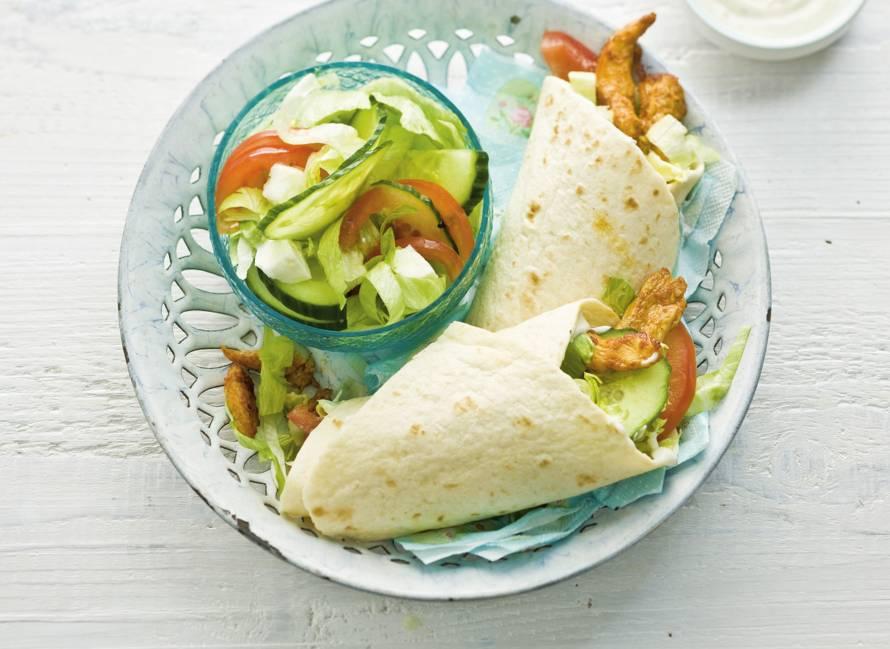 Wraps met shoarma en salade