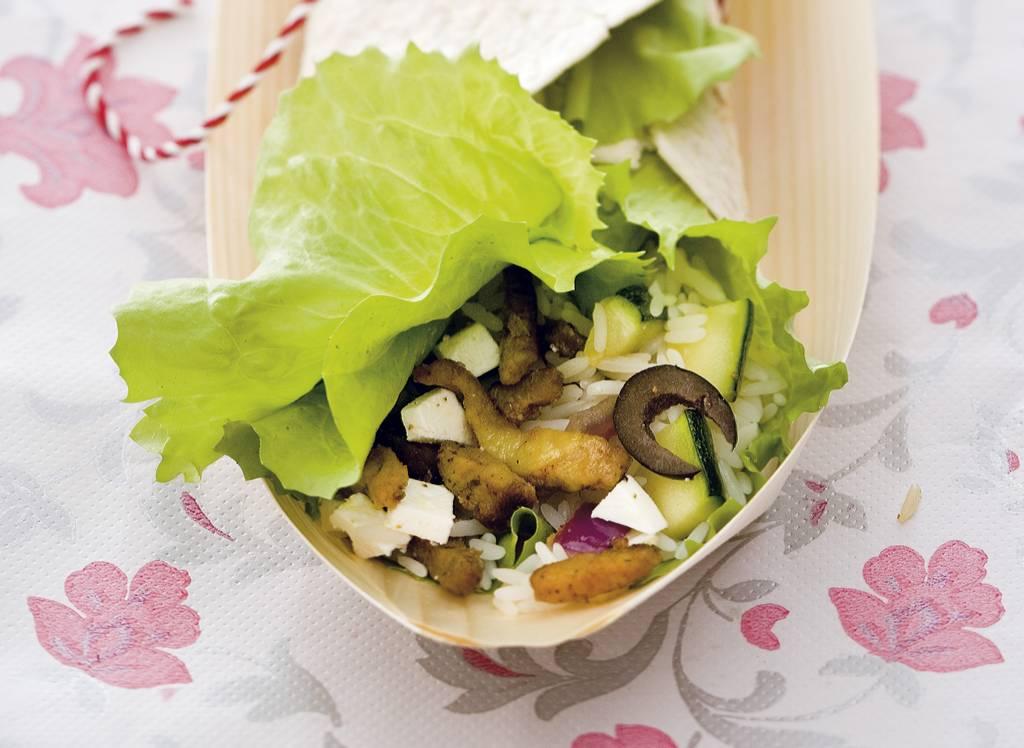 Wraps met Griekse gyrossalade en witte rijst - Albert Heijn