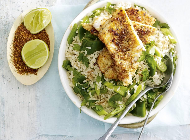 Caribische vis met groene pilav