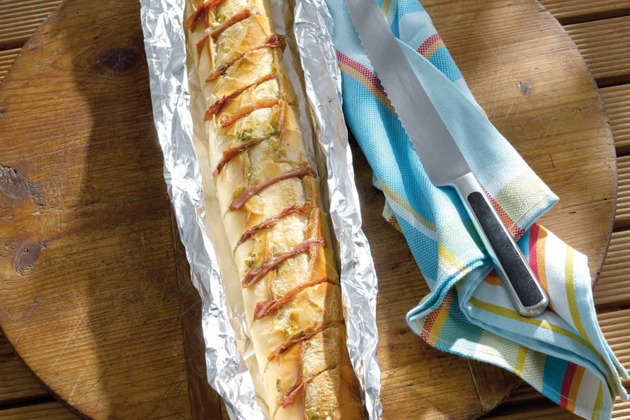 Gevuld stokbrood met ham