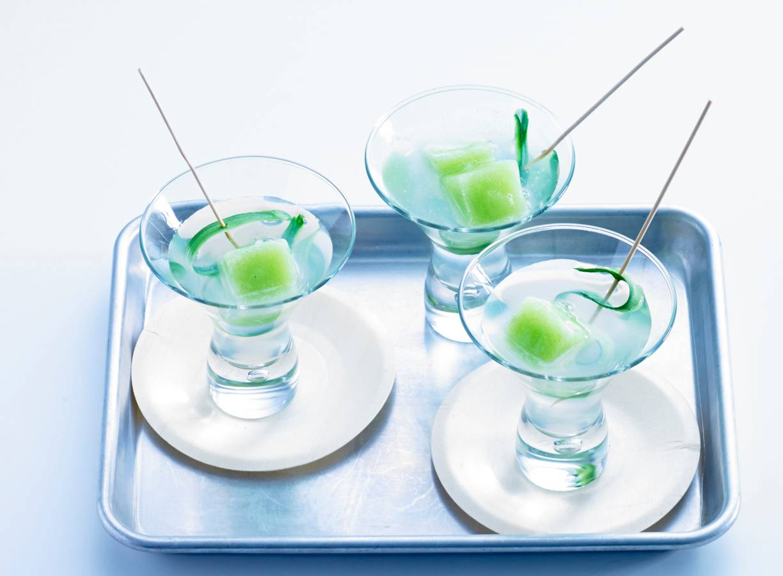Limedrankje met komkommerijs