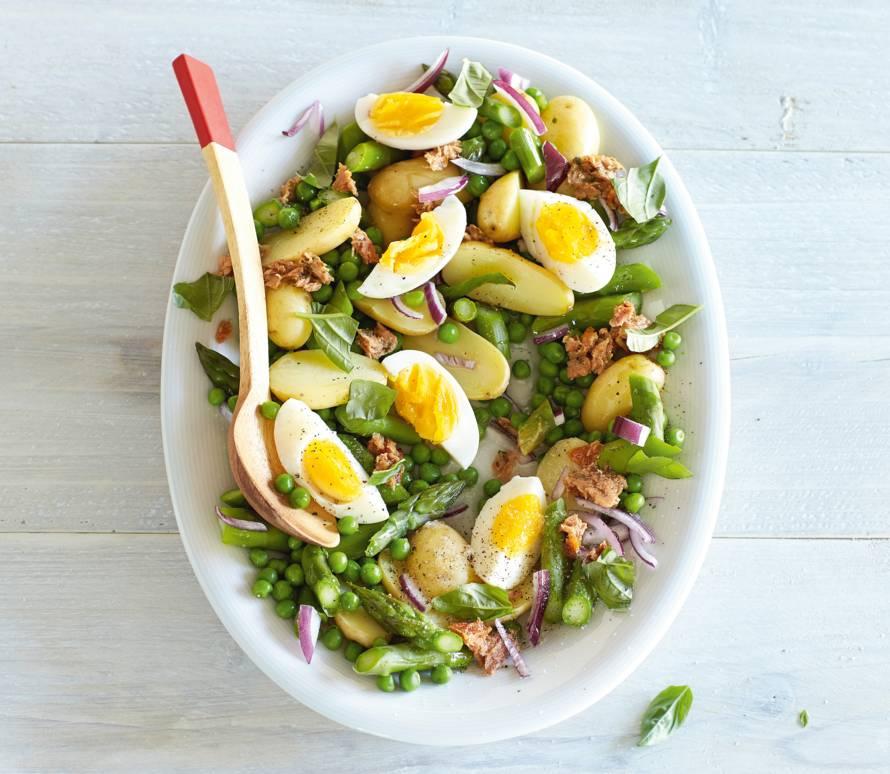 Aardappel-tonijnsalade met asperges