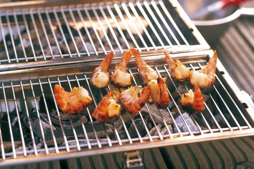 garnalen op barbecue