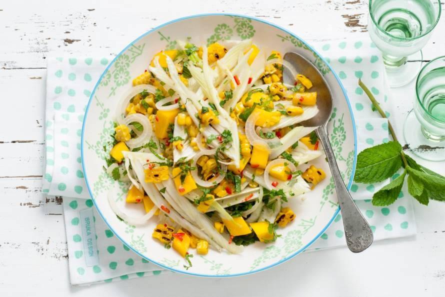 Maissalade met venkel en mango