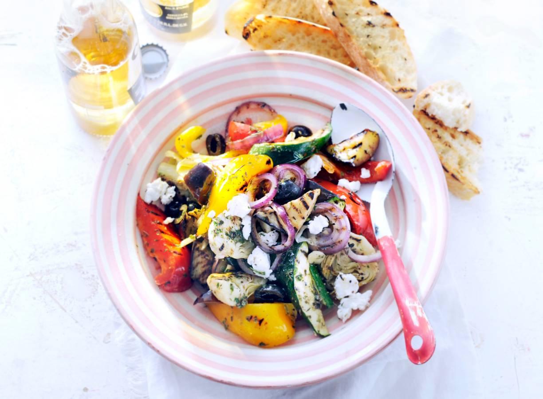 Mediterrane groenten van de barbecue