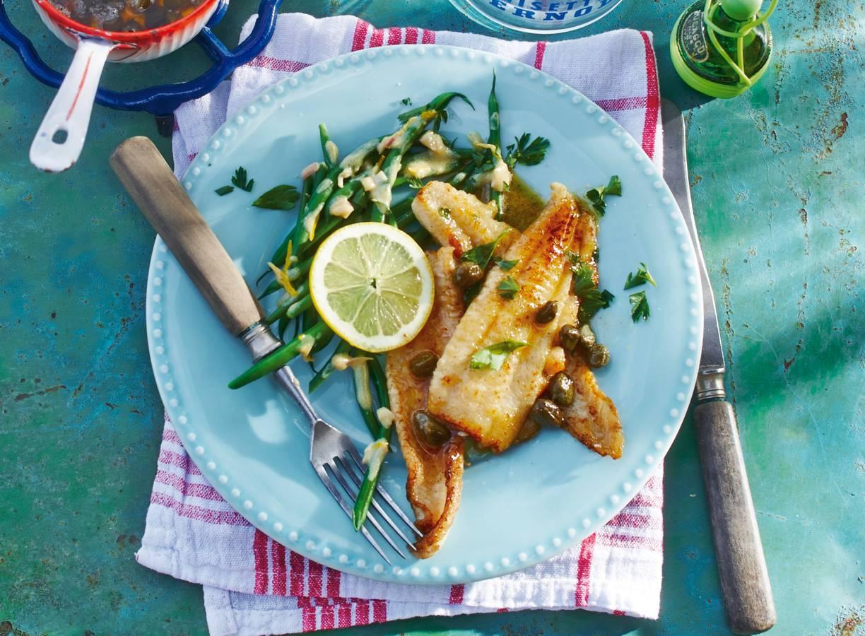 Tong met gebruinde boter & haricots verts