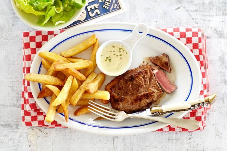 Steak frites en snelle bearnaise