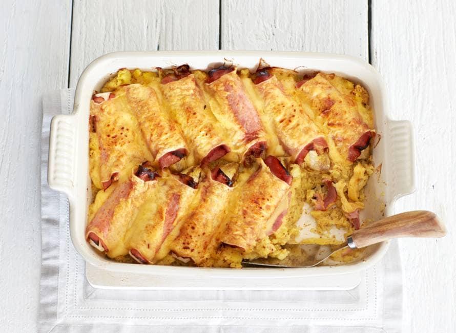 witlof ovenschotel met ham, kaas en mosterdpuree
