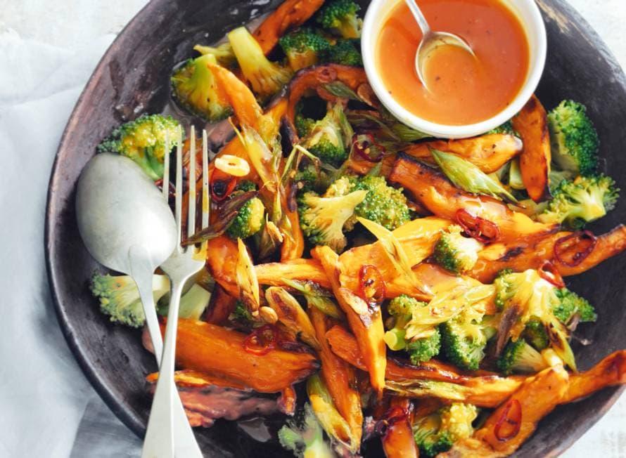 Zoete aardappel en broccoli