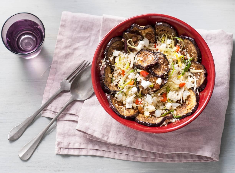 Gemarineerde aubergine met couscous en geitenkaas