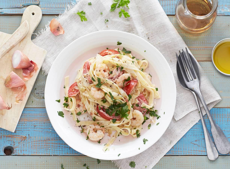 Romige pasta met garnalen