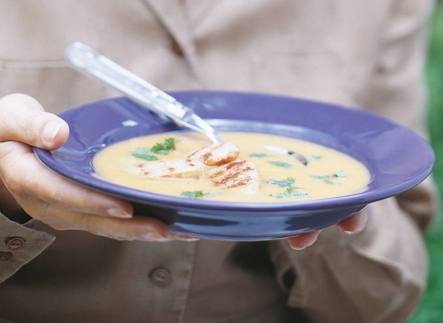 Wortelsoep met gember en rode curry