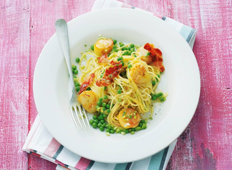 Pasta met sint-jakobsschelpen en saffraanboter